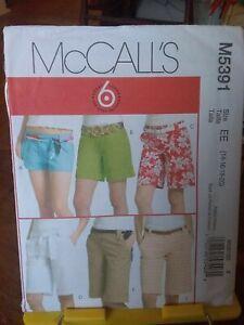Oop-Mccalls-6-styles-5391-misses-shorts-belts-3-lengths-sz-14-20-NEW