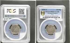 10 Peniques Moneda de Curso J. 13 1910A Pulida Placa (Proof) PCGS PR65 + Cam