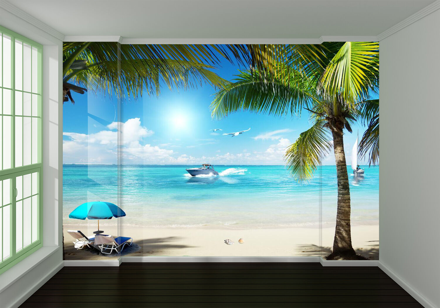 3D beach summer hot sun Wall Paper wall Print Decal Wall Deco Indoor wall Mural