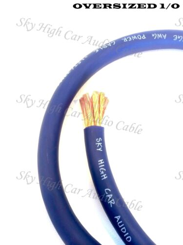 20 ft 1//0 Gauge AWG 10/' BLACK /& 10/' Blue Oversized Power Ground Wire Sky High