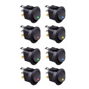 8PCS-LED-Dot-Light-12V-Car-Auto-Boat-Round-Rocker-ON-OFF-TOGGLE-SPST-SWITCH-R5C3