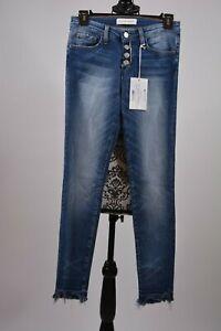 FLYING-MONKEY-Black-Label-Juniors-Frayed-Hem-Front-Buttons-Blue-Jeans-Size-25