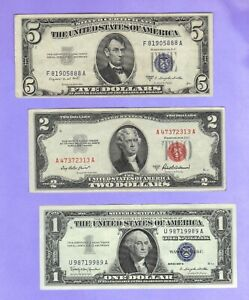 3 Vintage Obsolete United States $1 $2 $5  Notes Red Seals Silver Certificate