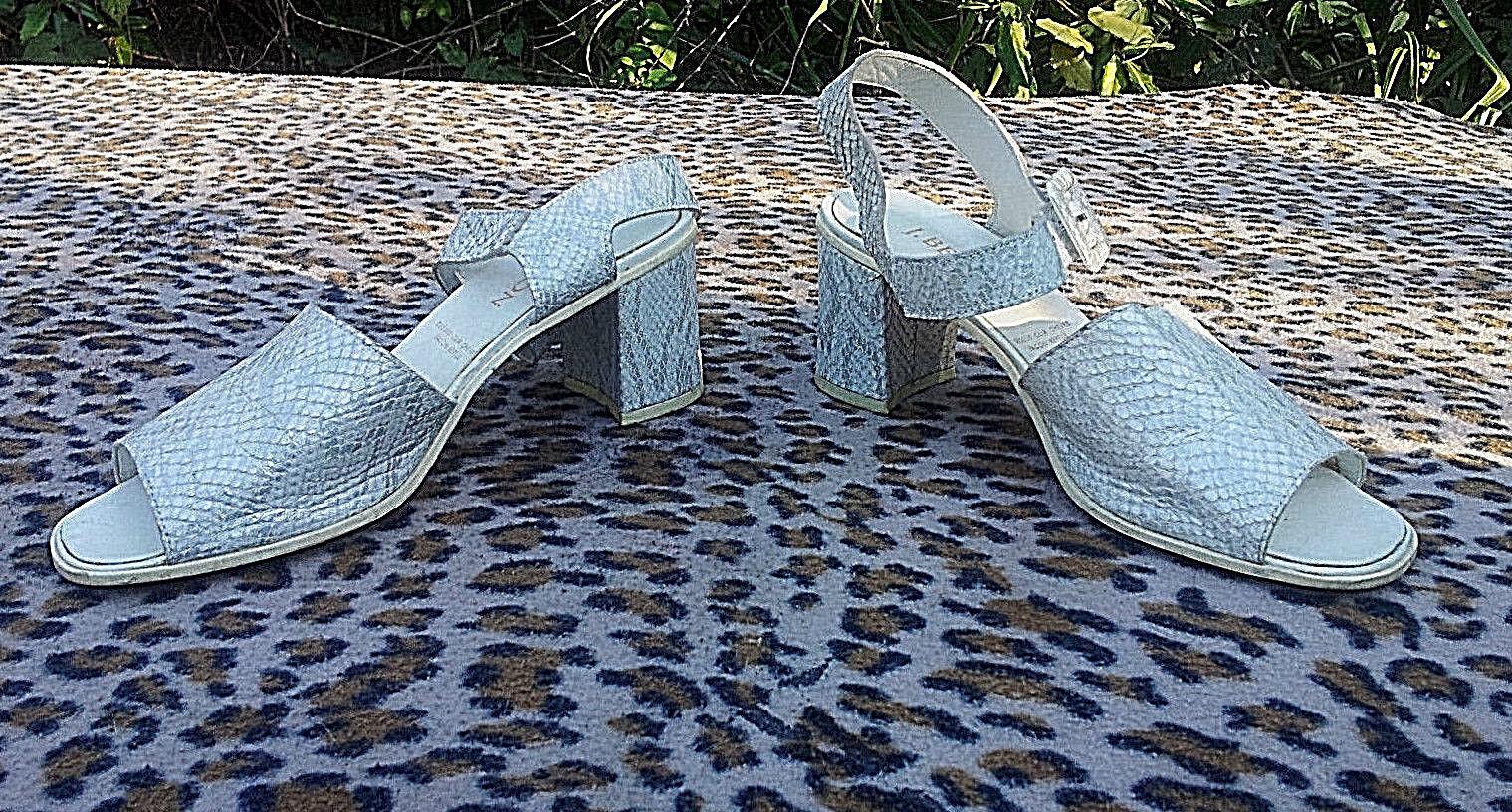 Vintage J Besson snakeskin Weiß grau Silber peep peep peep toe schuhe UK Größe 6 EU 39 7cfd27