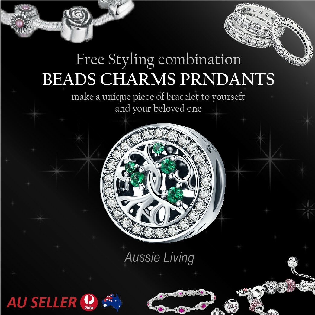 Green Cubic Zirconia Round Jewellery 925 Sterling Silver Bracelet Pendant Charms