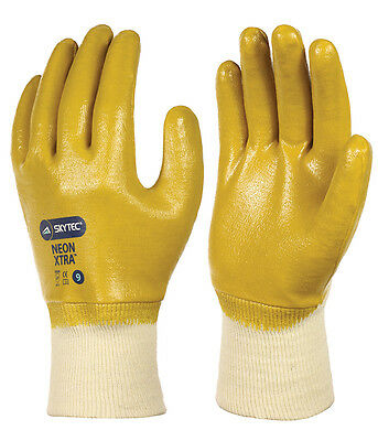 10 x Pairs Of Skytec NEON Yellow Nitrile Work Wear Gloves Coated Palm /& Knuckles