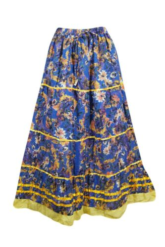 Floral Blue Cotton Long Skirt Summer Fashion Gypsy Hippie Chic A-Line Skirts