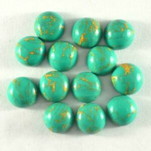 Lot of 10 pieces Natural Green copper turquoise round shape cabochon smooth flatback loose gemstones for jewelry