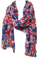 Union Jack London Souvenir UK Flag Print Fashion Maxi Scarf Sarong-Royal Blue/Rd