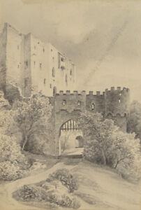 """Drawing Otto Arnz """"burg Liechtenstein Near Vienna"""" Ca 1850 1823-aft. 1860"""