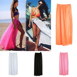 85b70cb8c46 Women s Bikini Cover Up Swimwear Sheer Beach Maxi Wrap Skirt Sarong ...