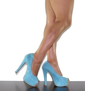 Womens High Heels Pump Platform Light Blue Faux Suede Open Toe ...