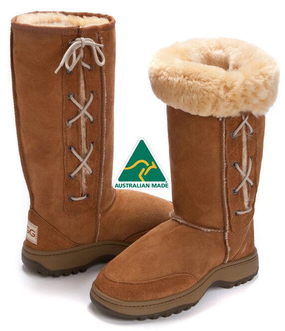 Randonnée haute / longue en plein air bottes Ugg Laces Premium en peau de mouton australien