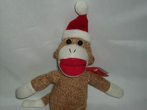 01cf993de Details about Brown Sock Monkey Plush Christmas Holiday Santa Hat Doll Toy  Stuffed Animal