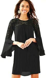 Details about Lilly Pulitzer Amenna Lace Yoke Lileeze Flounce Sleeves Black Onyx Shift Dress