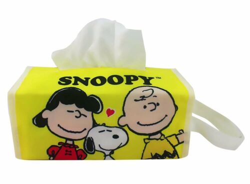 Table Tissue Box Cover for Home or Car yellow SNOOPY HUG Hanging