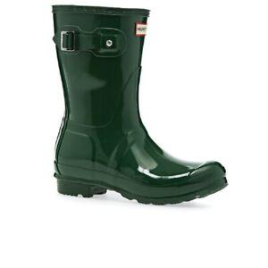 Hunter Original Short Gloss Ladies Hunter green Boots 9