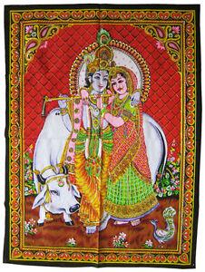 KRISHNA-RADHA-Wandbehang-Stoffbild-mit-Pailetten-Indien-KRSNA-Krischna-Vishnu