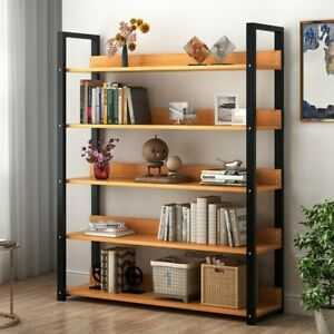 Adjustable-5-Shelf-Wood-Bookcase-Storage-Shelving-Book-Wide-Bookshelf-Furniture