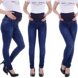 Damen Umstandsjeans Umstandshose Schwangerschafts Hose Jeans mit Bauchband D91