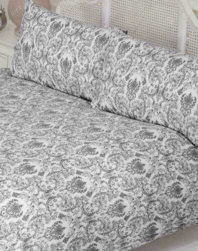 DOUBLE BED DUVET COVER SET ANNETTE DAMASK FLORAL BLACK WHITE POLYCOTTON BEDDING