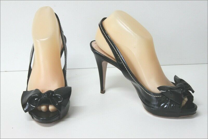 Miu miu pumps sandals all black patent leather size 38 tbe