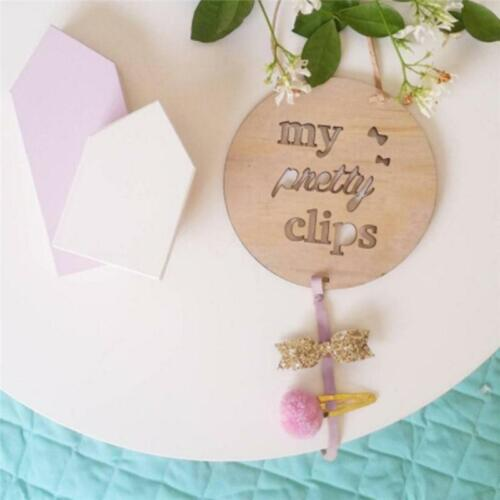 Kids Baby Girl Hair Clip Wood Ribbon Holder Photo Storage Organizer New LC