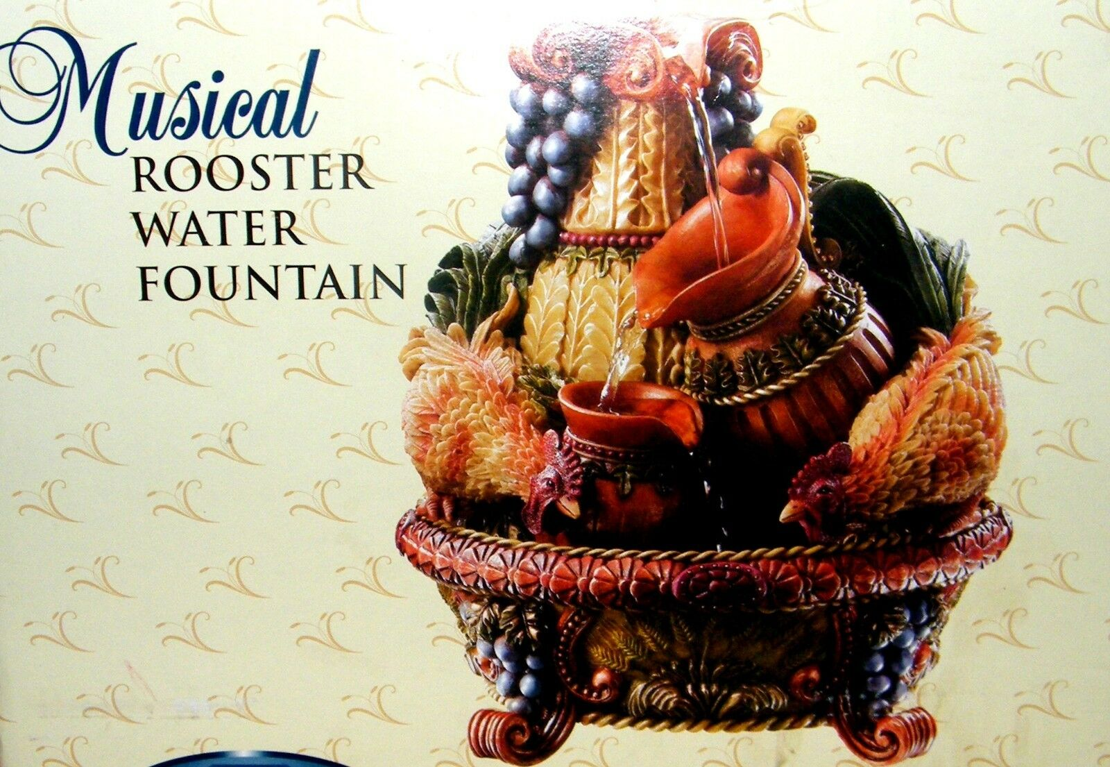 Classic Treasures Wind-Up Musical Rooster Water Fountain  Waltzing Matilda  NIB