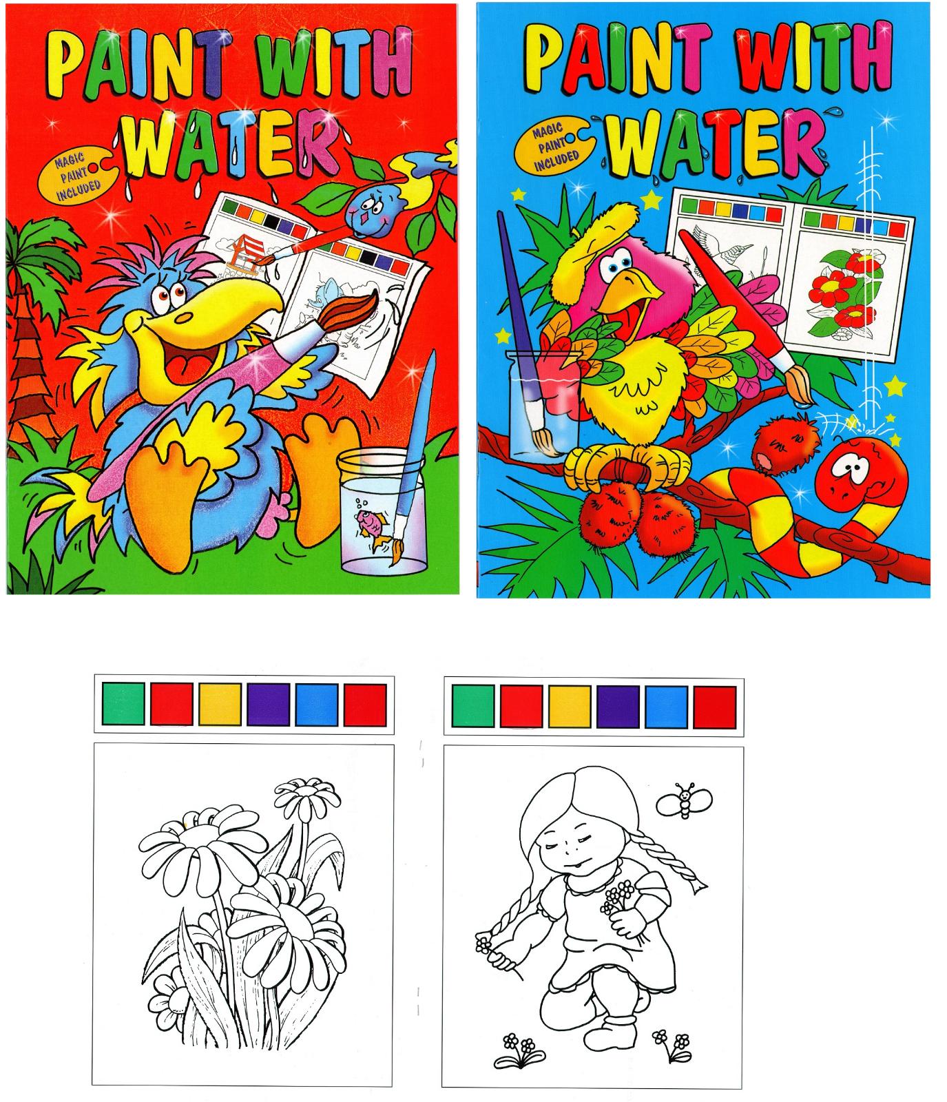 MAGIC PAINTING BOOK /& BRUSH Choose Design,Create Art Use Water,Boys,Girls,Gift
