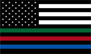 Thin Blue Line Decal Usa Flag With Red Blue And Green