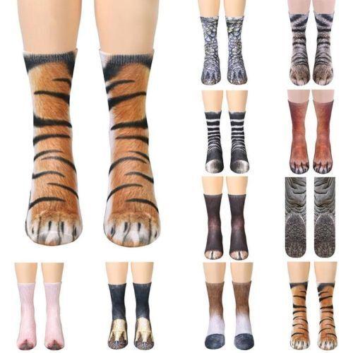 Funny Unisex Adult//Kids Elastic Sock Animal Paw Feet Crew 3D Print Foot Socks @Y