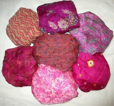 LOT PURE SILK Vintage Sari REMNANT Fabric 7 Pcs 1 ft Yellow Rani #ABD67