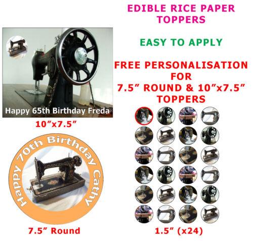 Personnalisé vintage antique machine à coudre gâteau//cupcake toppers sur papier de riz