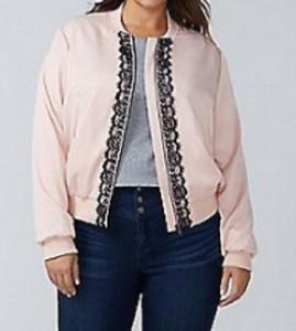 af6e4a28a796e Lane Bryant lt pink satin inspired bomber jacket black eyelash lace ...