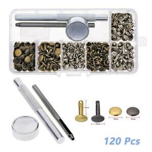 120Pcs-Leather-Rivets-Double-Cap-Rivet-Tubular-Metal-Studs-Setting-Tool-Kit-UK