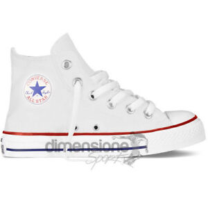 CONVERSE-ALL-STAR-ALTE-bianche-TG-27-SCARPE-TELA-CANVAS-3J253-US-10-5-UK-10