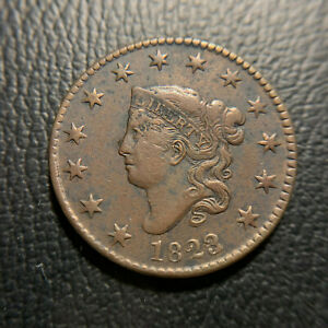 1823-2-Large-Cent-VF-XF-Extremely-Fine-Matron-Head-Coronet-Overdate-Newcomb-N1