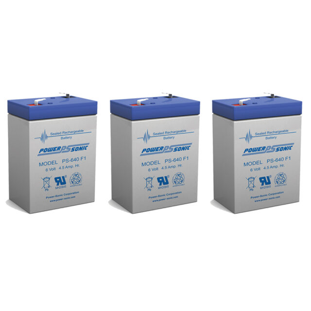 Power-Sonic 3 Pack - Exit Sign Battery 6V 4.5Ah backup