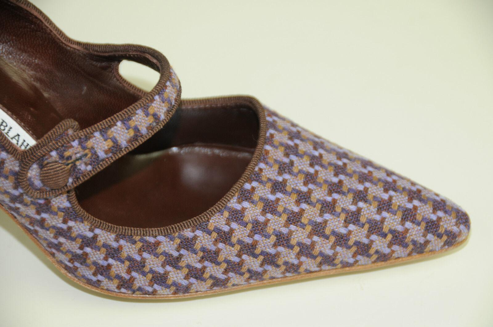 685 NEW NEW NEW MANOLO BLAHNIK Campari Mary Jane Purple Brown TWEED SHOES 36 36.5 6ae9de