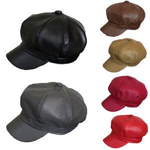 Hommes-Femmes-En-Cuir-Synthetique-octogonale-Beret-Casquette-Gatsby-Newsboy-Visiere-Taxi-Chapeaux