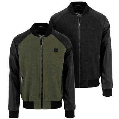 Urban Classics Cotton Bomber Leather Imitazione Sleeve Jacket Giacca Uomo Tb1163-mostra Il Titolo Originale Luminoso E Traslucido Nell'Apparenza