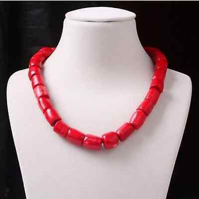 """Charm Red Cylinder Coral Bead Necklace Gemstones Woman Fashion Jewelry 18"""" AAA"""