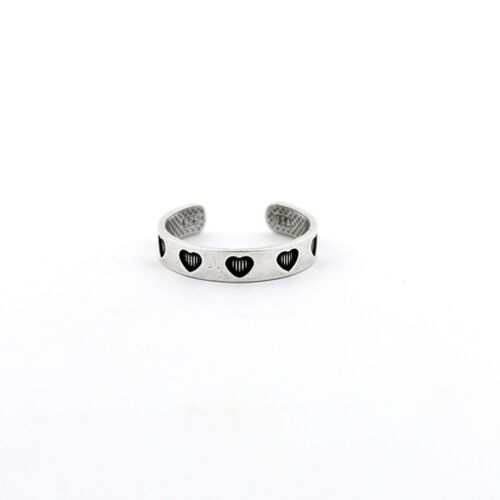 Sterling silver 925 Heart design above knuckle ring adjustable midi ring T116
