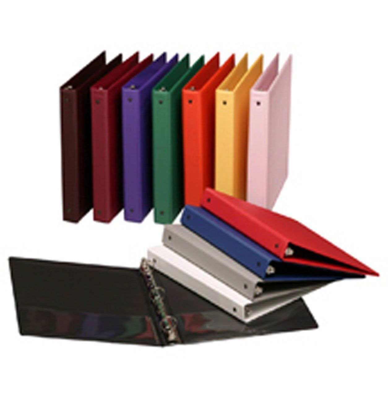 Assorted colors of Vinyl 3-Ring Binders, 1-Inch, for 8.5  x 11  Sheets,box of 15
