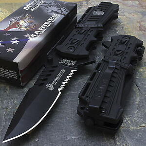 """LICENSED 9.25"""" MARINES LIBERY I MTECH USA SPRING ASSISTED TACTICAL FOLDING KNIFE"""