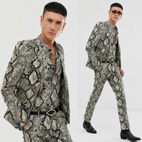 Snake Print Suits For Men Formal Stylish Slim Tuxedos Party Dinner Prom Suits