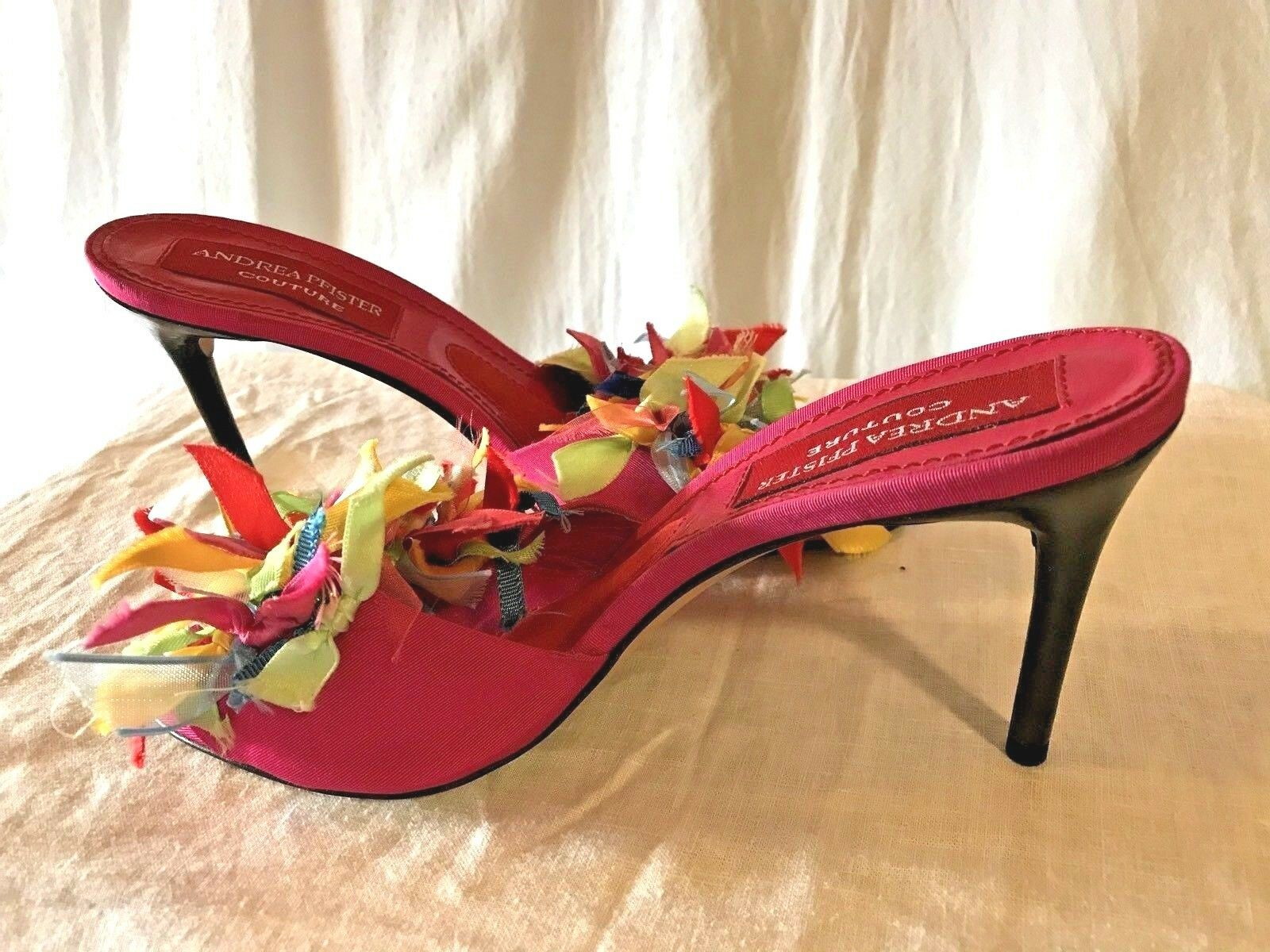ANDREA PFISTER COUTURE Ribbon High Heel Sandals shoes size 38 made in
