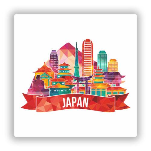 2 x Japan Skyline Vinyl Stickers Travel Luggage #10023
