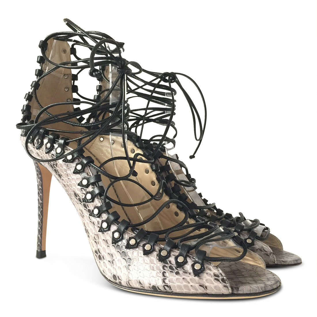 NUOVO   1799 JMMY CHO Koko Snakeskin Lace -Up Heels - grigio - Dimensione 39.5  ecco l'ultimo