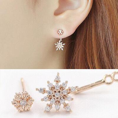 Fashion Women Girls Snowflake Rhinestone Crystal Dangle Ear Stud Gift Earrings